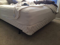 Queen size bed, metal frame, and mattress cover
