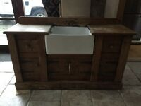 Rustic French farmhouse style sink unit with separate taps
