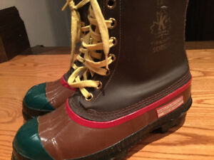 Vintage Sorel kaufman Steel Toe/ Safety Wool Lined Winter Boots.
