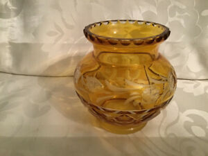 Vintage Yellow Amber Cut to Clear Rose Bowl Bohemian