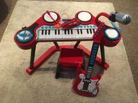 ELC keyboard, guitar, stool plus glasses