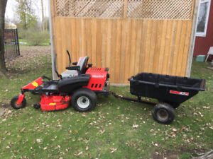 Zero Turn Gravely Lawn Mower with 10 cu.ft dump trailer