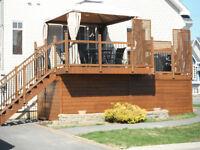 Patio, galerie, terrasse, clôture a prix compétitif.