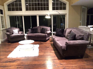 New 3 Piece Studded High Back Custom Grey Couch Set London Ontario image 1