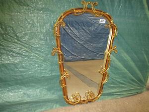 Miroir ancien  en bois et laiton, provincial italien