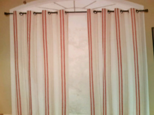 (2) Beautiful Red Striped Rustic Curtains