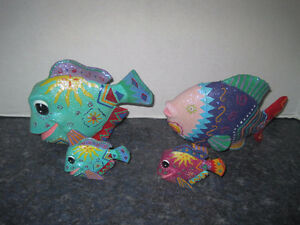 4 Artistic Hip Funky Fish Statues