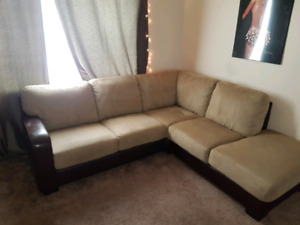 Leather/microsuede sectional