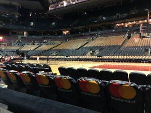 Toronto Raptors Platinum Row 1 seats behind the Raptors Bench!
