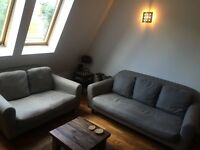 2 x Grey Fabric Habitat Sofas - Very Good Condition MUST GO BY FRIDAY
