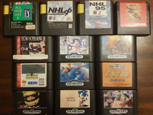 13 Genesis Games Including the Rare Gaiares (Cartridges Only)