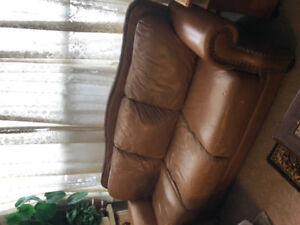 Leather couch, oriental carpet, table, apartment size dryer