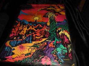 Vintage Authentic Black Light Tripy Psychadelic Posters From 70s