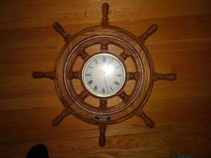 "Oak Ship Wheel Wall Clock - 21"" Diameter, Battery Operated Clock"