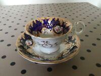Vintage china tea cup & saucer blue gold pink tea room