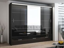 BLACK OR WHITE HIGH GLOSS-- BRAND NEW MARSYLIA SLIDING WARDROBE WITH MIRROR, LED AND DRAWERS