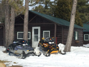 2 skidoo's and trailer