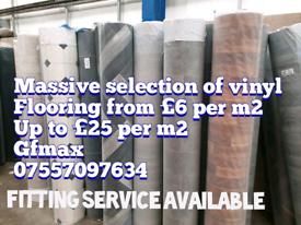 Vinyl flooring from £6 per m2 up to £20 per m