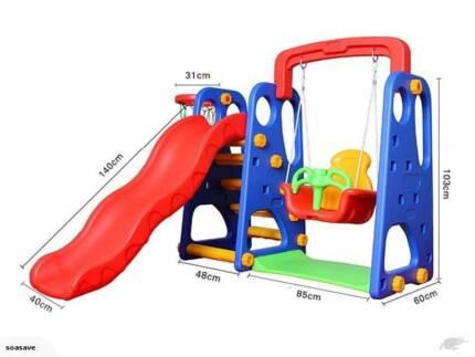 Kids Slide Swing Set with Basketball Hoop