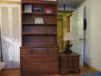 Dresser with hutch bookcase, night table & 2 headboards & footbo
