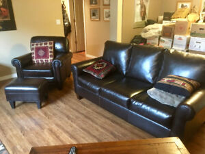 LEATHER SOFA, CHAIR AND MATCHING OTTOMAN