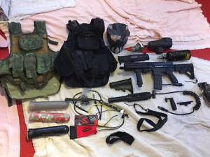 Tippman a-5 paintball gun and accessories!