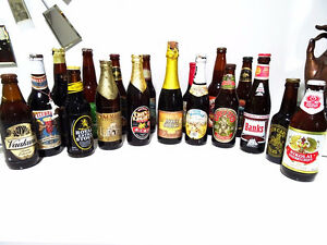 19 vintage Beer Bottles CAPPED LABELED instant world collection