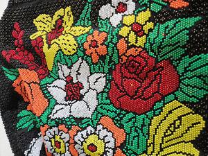 Vintage handmade beaded floral black purse handbag London Ontario image 2