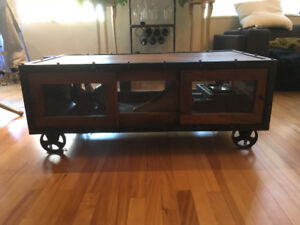 Industrial Wrought Iron and Wood Cartwheel Coffee Table