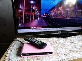 DION PINK DIGITAL FREEVIEW TV BOX WITH REMOTE CONTROL AND SCART LEAD