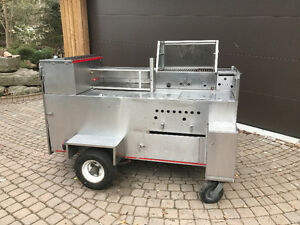 Ferguson Style Hot dog cart with Glass BBQ and 3 Steamers