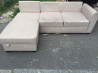 Right hand mocha colour corner Sofabed with storage