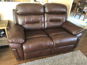 Love seat brown leather like new recliner