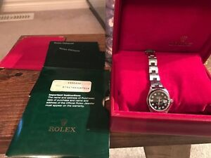 Authentic Rolex date just 26mm diamond with box and paper