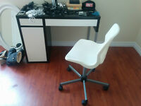 Black and white desk with white desk chair