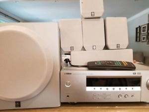 Yamaha HTR-5920 surround sound system with speakers and remote