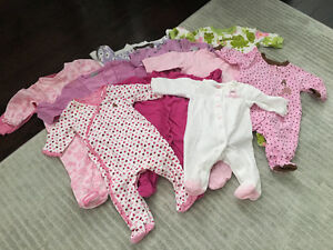 Bin of baby girl clothes 0-6 months