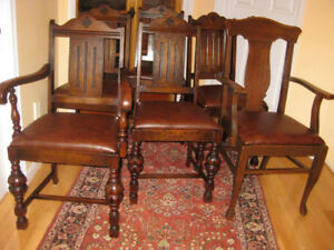 6 Gorgeous Antique Oak Dining Chairs Restored Buffet Sideboard