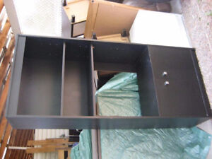 TALL BLACK BOOKSHELF with CUPBOARD