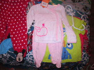 brand new baby girl outfits and boys 2t pj set