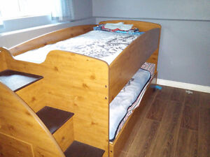 Loft over Trundle Bed & Matching Chest of drawers
