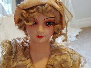 1930s Art Deco BOUDOIR DOLL FLAPPER sofa vamp BIG GIRL'S DOLL