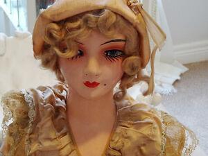 1930s Art Deco BOUDOIR DOLL FLAPPER sofa vamp BIG GIRL'S DOLL