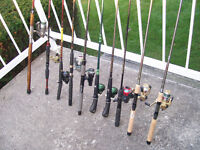 10 Cannes et Moulinets Peche Fishing Rod Reel