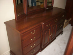 Durham Solid Wood Dresser with Mirror & Bedside Table