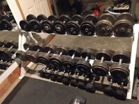 Commercial dumbbell set 15,20,40-75 lbs with rack