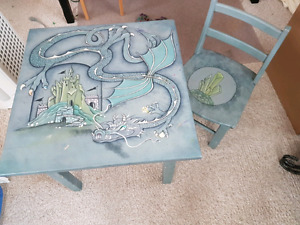 Painted wood table and chair for child - beautiful set.