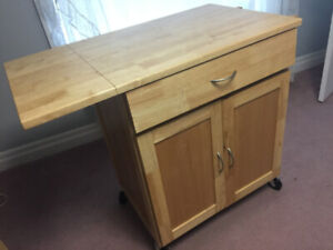 Solid oak kitchen cart with extendable leaf