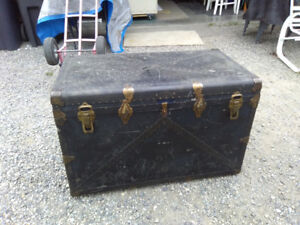 Large Leather Like Steamer Trunk