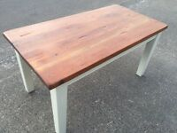 Reclaimed pitch pine topped table